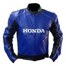 Cowhide Honda Blue Racing Motorbike Leather Jacket