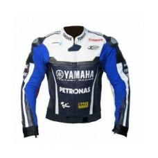 Handmade Mens Yamaha Blue Petronas Motorbike Leather Jacket