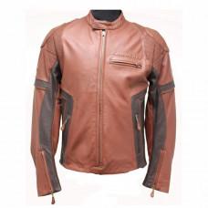 Brown Kawasaki Motorcycle Leather Jacket Mens