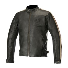 Honda Mens Biker Jacket Retro Vintage Leather Jacket