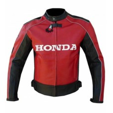Honda Red Unique Wing Motorcycle Racing Cowhide Leather Jacket