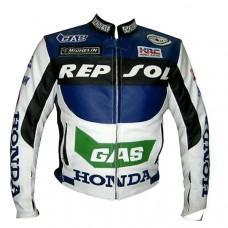 Honda Repsol Gas Motorcycle Biker Leather Jacket