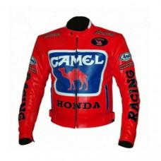Honda Repsol Camel Motorcycle Cowhide Leather Street Racing Motorbike Jacket