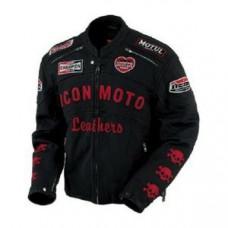Black Honda Motorbike Style Leather Jacket