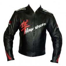 Black Mens Suzuki Sport Motorbike Leather Jacket