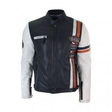 Navy Blue White Real Leather Biker Jacket
