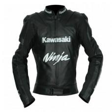 New Handmade Kawasaki Black Racing Motorcycle Leather Jacket Ce Approved