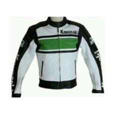 New Handmade Men Kawasaki Black White Cowhide Racing Motorcycle Leather Jacket