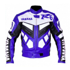 New Yamaha R6 White Blue Genuine Cowhide Racing Motorcycle Leather Jacket