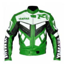 New Yamaha R6 White Green Genuine Cowhide Racing Motorcycle Leather Jacket