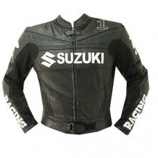 Black Suzuki Motorcycle Leather Jacket