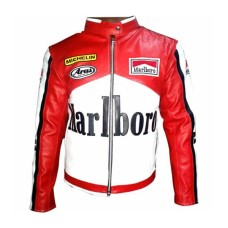 Rare Marlboro Man Formula Racing McQueen Leather Jacket Indian Motorcycle Jacket