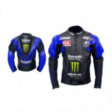 Blue And Black Kawasaki Men Motorbike Leather Jacket