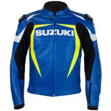 BLUE SUZUKI Motorcycle Real Leather Motogp Jacket