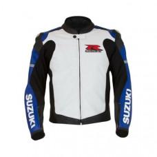 Blue-White Mens Medium Suzuki GSX-R Leather Jacket